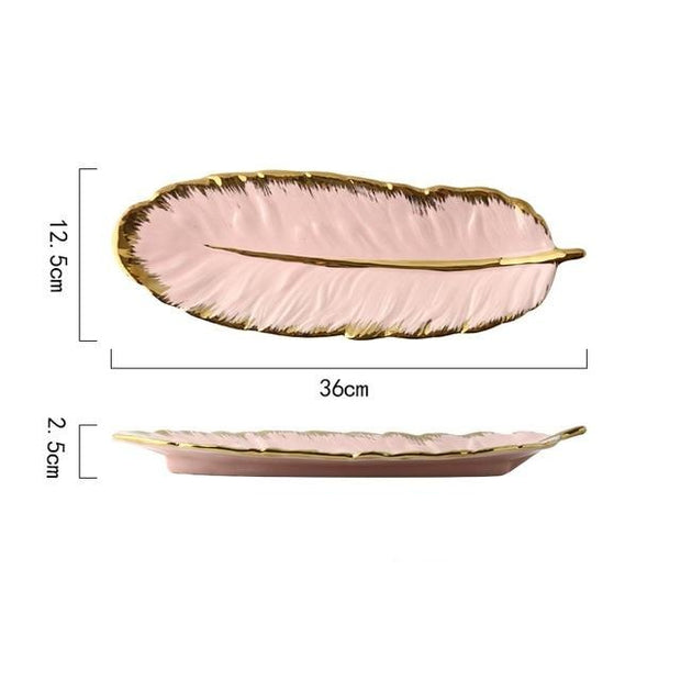 Decorative Leaf Feather Sushi Plate