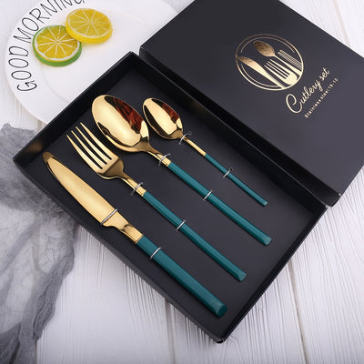 Stainless Steel Tableware Knife Fork Spoon Set