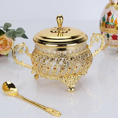 Glass Alloy Bowl with Spoon Set
