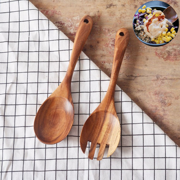 Non-Stick Wooden Cultery Forks Spoon Set