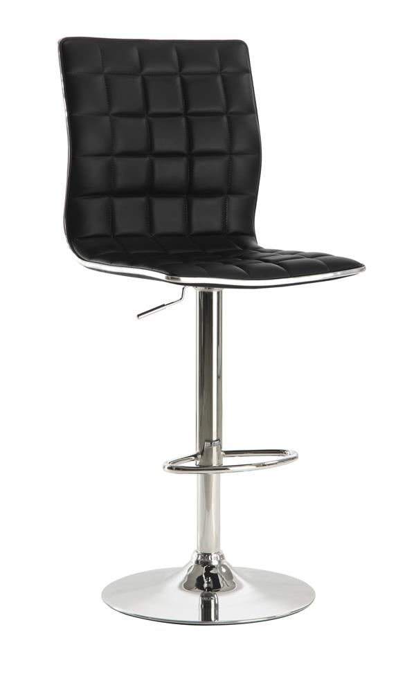Waffle Adjustable Black and Chrome Bar Stool image