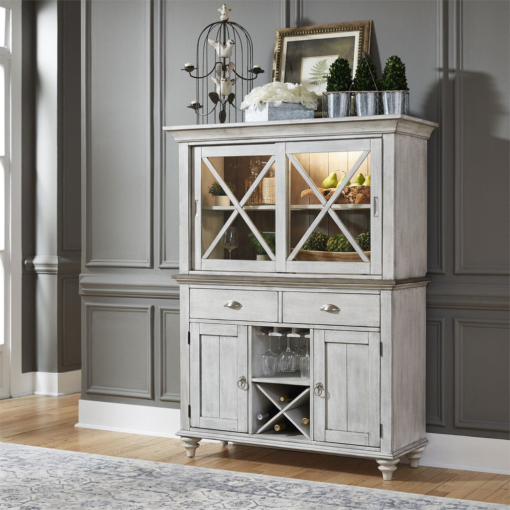 Liberty Furniture Ocean Isle Buffet with Hutch in Antique White with Weathered Pine 303W-CD-HB image