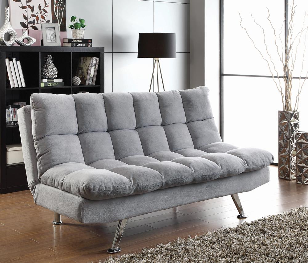 Transitional Dark Grey and Chrome Sofa Bed image