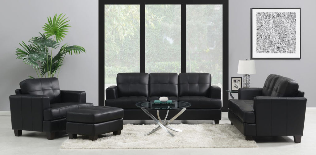 Samuel Transitional Black Three-Piece Living Room Set image