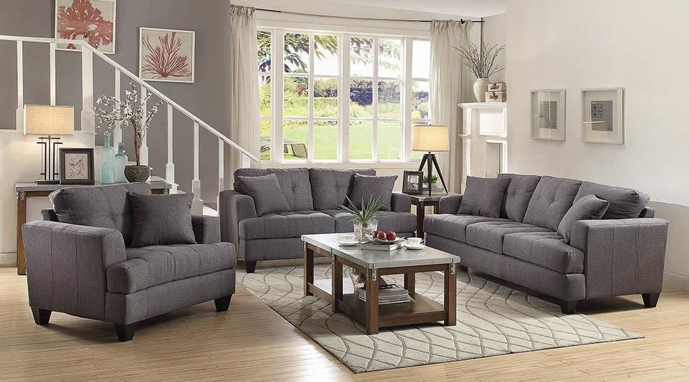 Samuel Charcoal Three-Piece Living Room Set image