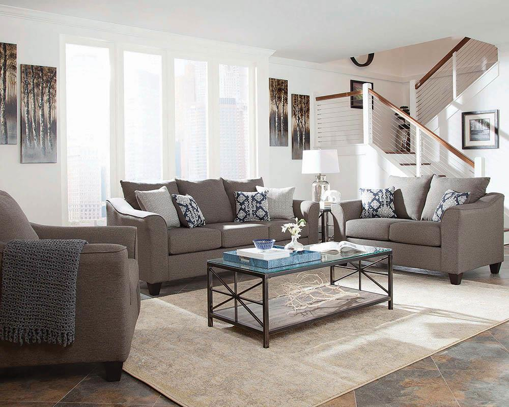 Salizar Transitional Grey Three-Piece Living Room Set image