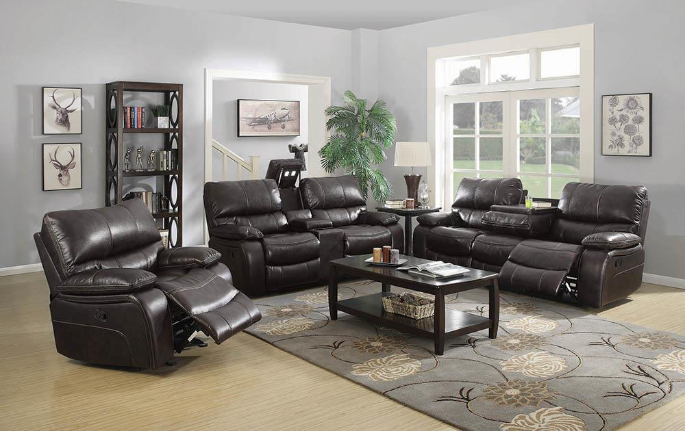 Willemse Chocolate Reclining Loveseat With Storage Console image