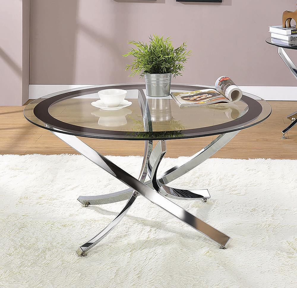Glass Top Chrome Coffee Table image