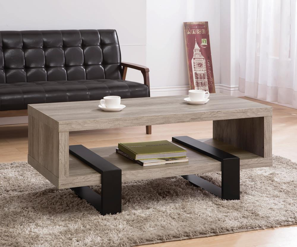 Industrial Grey Driftwood Open Coffee Table image