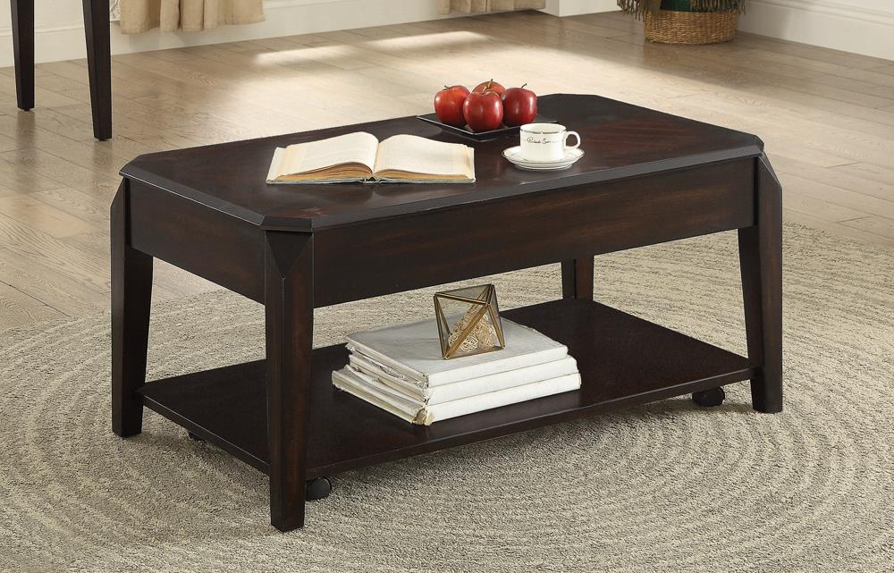 Transitional Walnut Lift-Top Coffee Table image