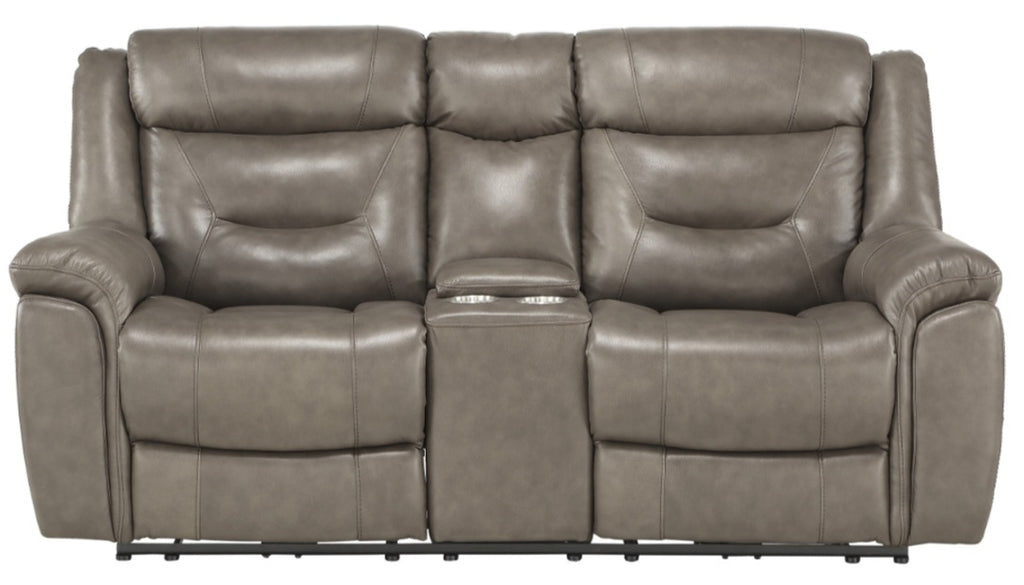 Homelegance Furniture Danio Power Double Reclining Loveseat with Power Headrests in Brownish Gray 9528BRG-2PWH image