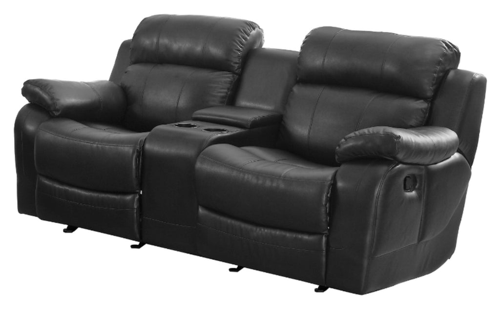 Homelegance Furniture Marille Double Glider Reclining Loveseat w/ Center Console in Black 9724BLK-2 image