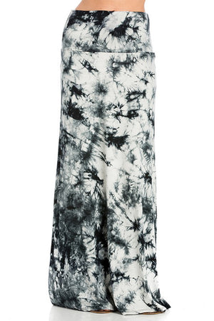 Black White Tie Dye Printed Maxi Skirt Skirts- Niobe Clothing