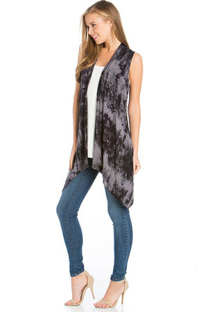 Sleeveless Asymmetric Hem Open Front Cardigan in Black Grey Tie Dye