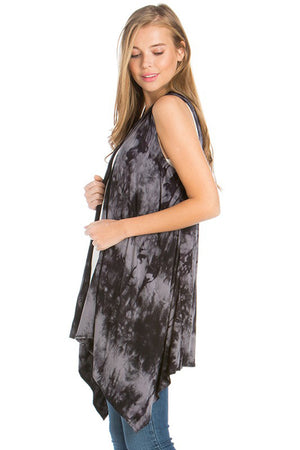 Sleeveless Asymmetric Hem Open Front Cardigan in Black Grey Tie Dye Cardigans- Niobe Clothing