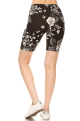 White Rose Biker Shorts leggings- Niobe Clothing
