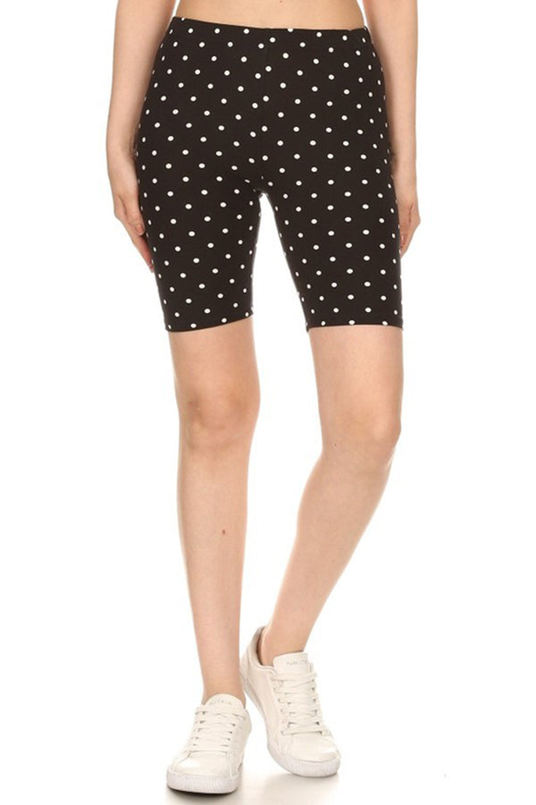 Black White Polka Dot Biker Shorts leggings- Niobe Clothing