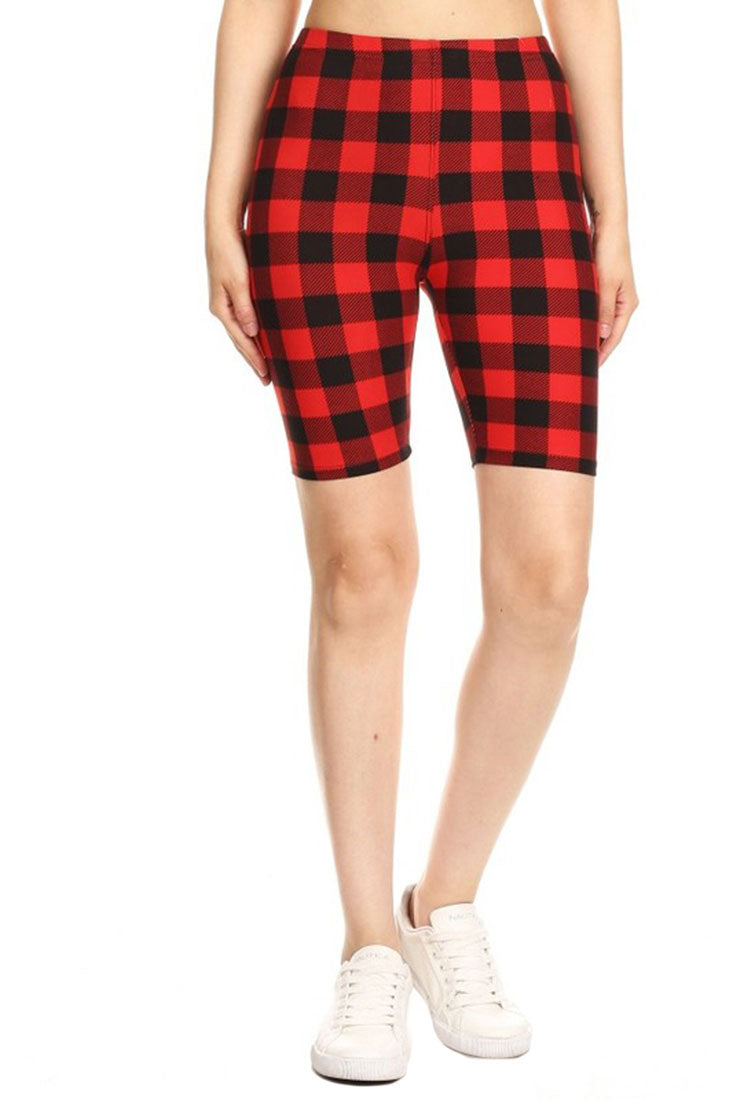 Gingham Red Plaid Biker Shorts-leggings-Niobe Clothing