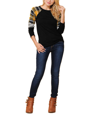 Long Sleeve Plaid Stripe Colorblock Round Neck Shirt Tops- Niobe Clothing