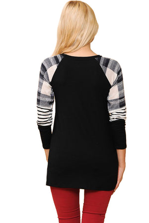 Long Sleeve Plaid Stripe Colorblock Round Neck Shirt