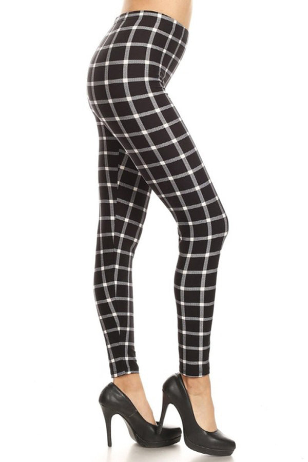 Black White Shepherd Check Leggings leggings- Niobe Clothing