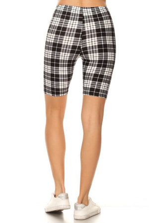 Black White Plaid Biker Shorts