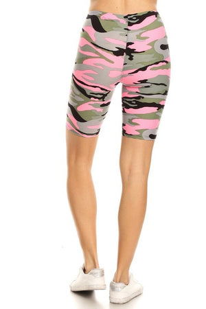 Light Pink Camo Biker Shorts
