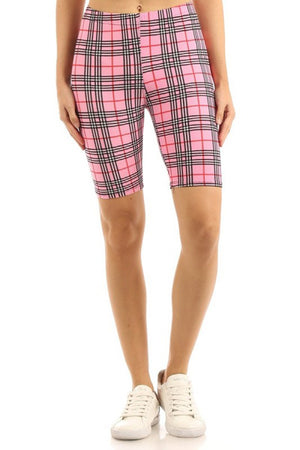 Multi Pink Plaid Biker Shorts