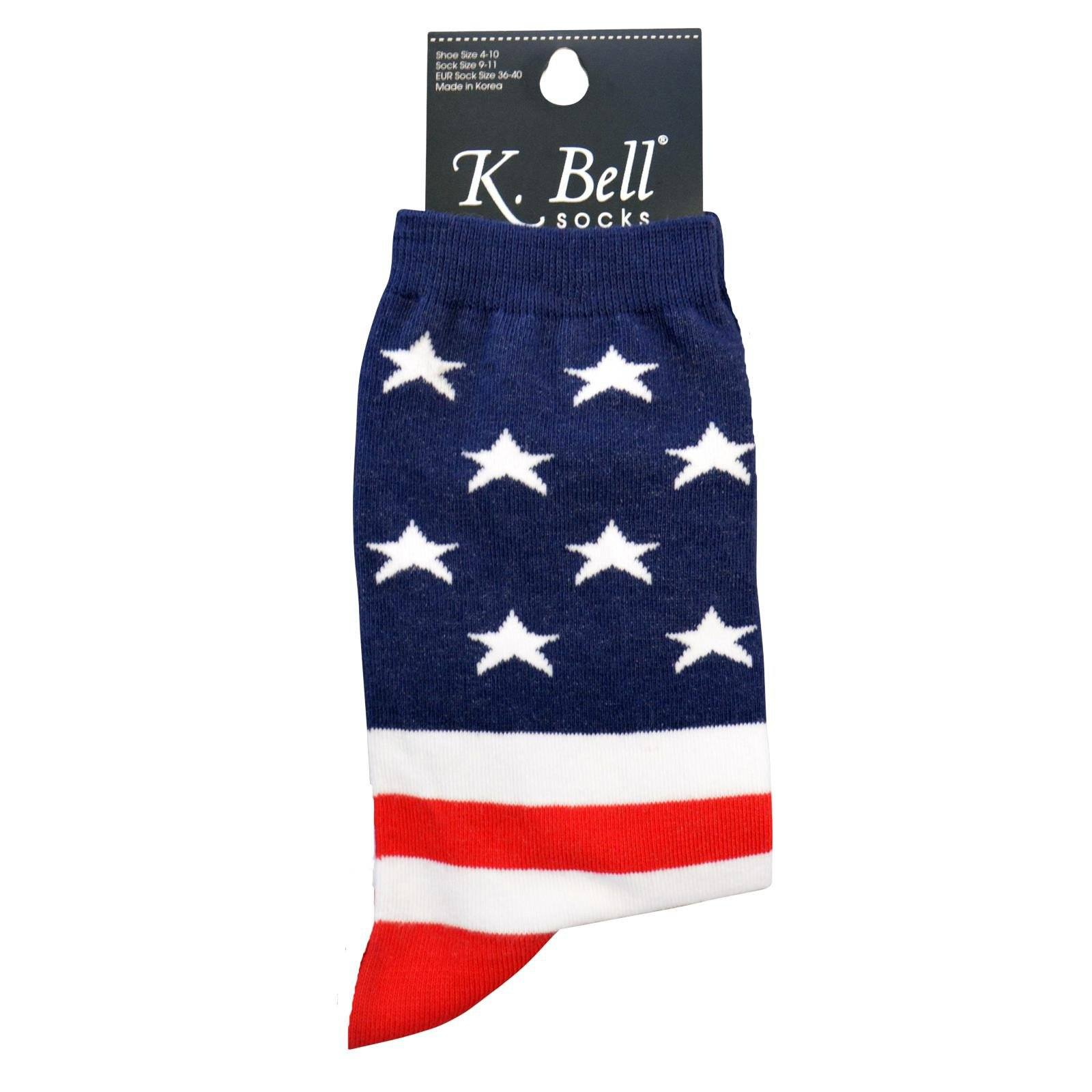 Womens American Flag Patriotic Crew Socks 9-11 MADE IN THE USA