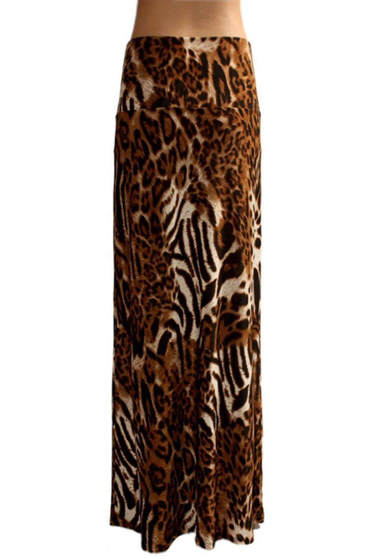 Animal Print Striped Full Length Banded Waist Foldover Maxi Skirt (Tiger) Skirts- Niobe Clothing