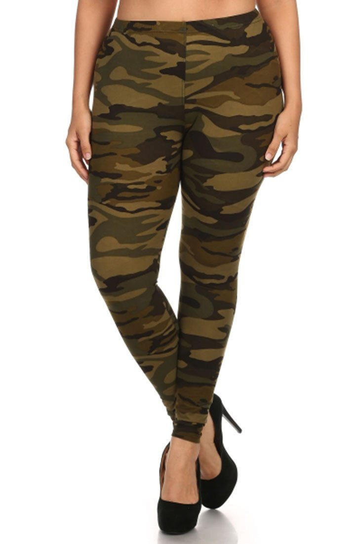Army Design Plus Size Leggings - Niobe Clothing - 2