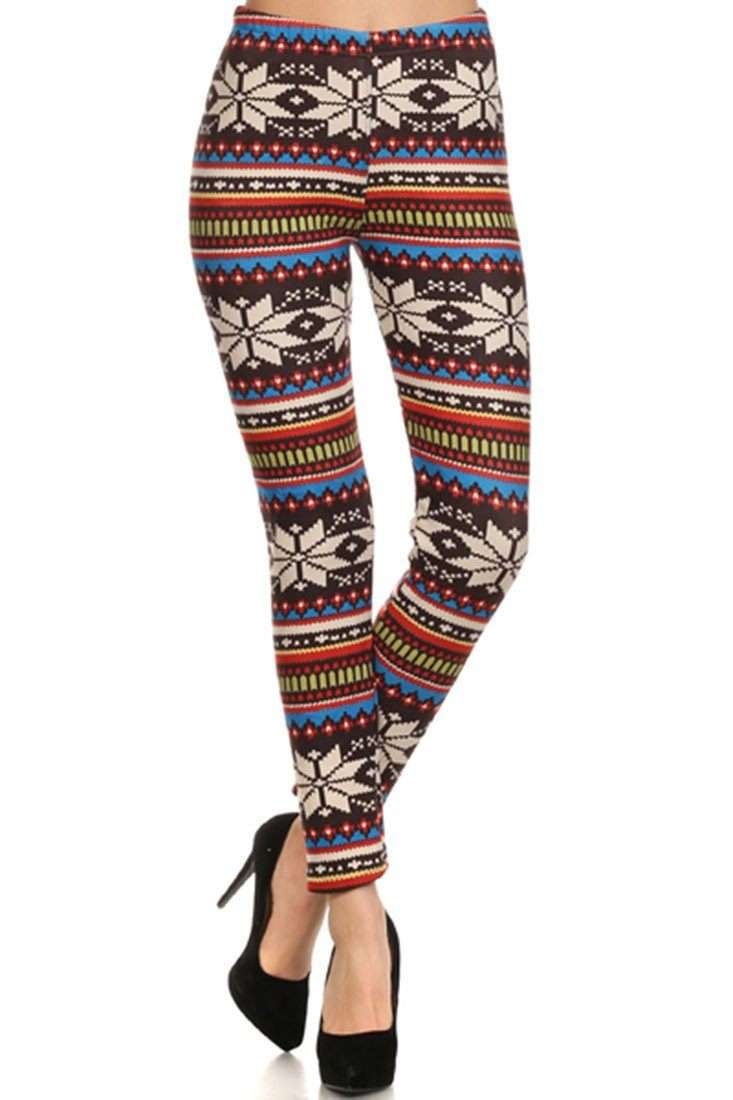 Multicolor Snowflake Graphic Print Lined Leggings - Niobe Clothing - 2