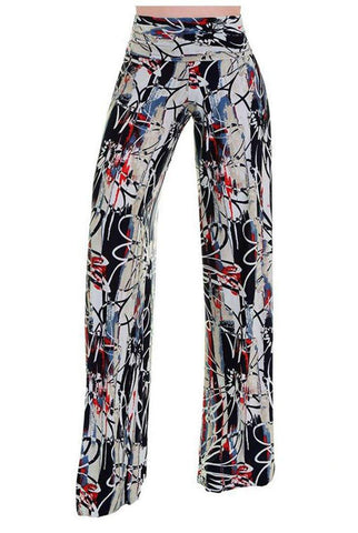 High Waist Fold Over Wide Leg Gaucho Palazzo Pants (Abstract Daisy)