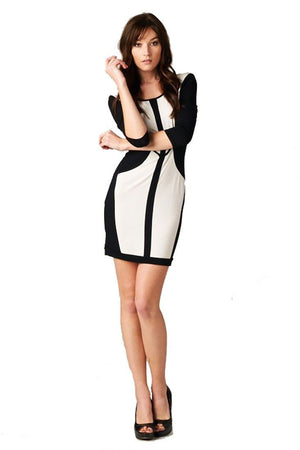 Women's Black and White Bodycon Color Block Short Mini Dress - Niobe Clothing - 1