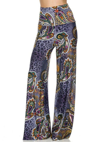 High Waist Fold Over Wide Leg Gaucho Palazzo Pants (Lavendar Leopard) - Niobe Clothing - 1