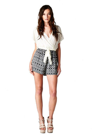 V Neck Wrap Dolman Sleeve Baroque Damask One Piece Romper-Shorts-Niobe Clothing