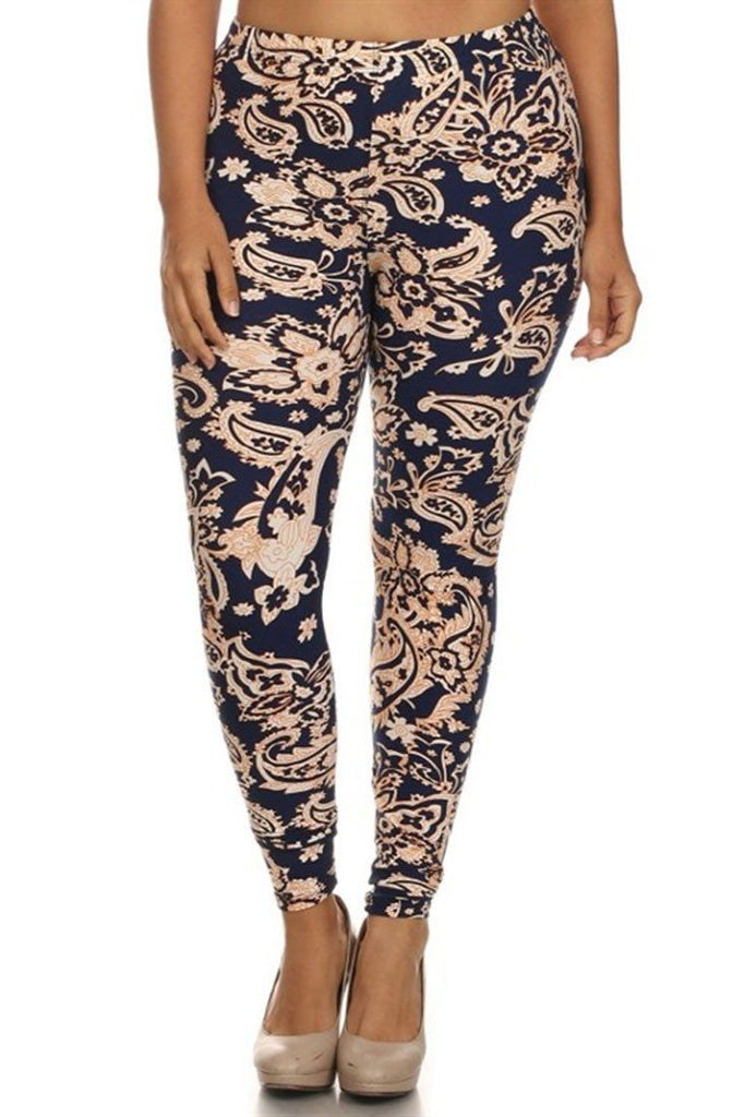 Luxurious Paisley Design Plus Size Leggings - Niobe Clothing - 1