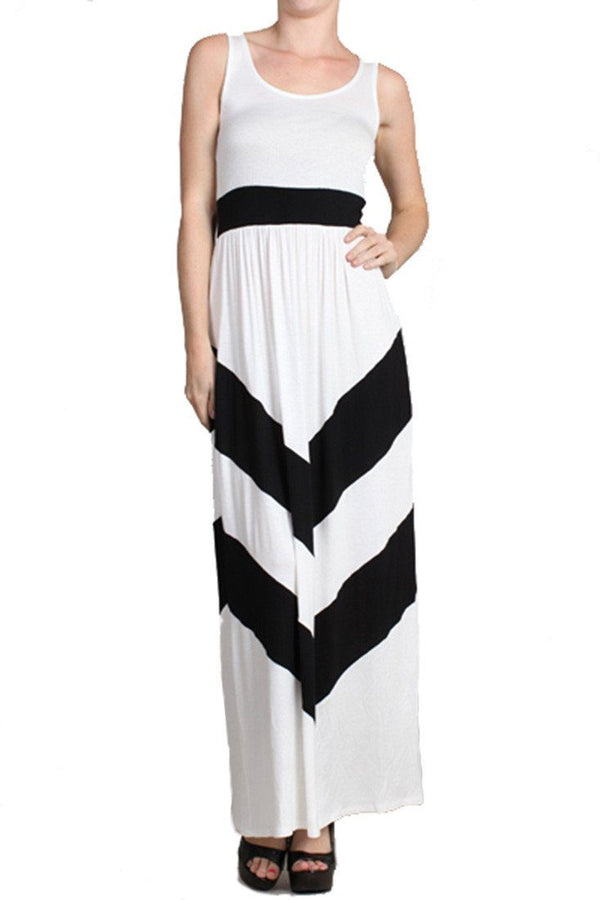 Sleeveless White Scoop Neck Chevron Striped Maxi Dress dress- Niobe Clothing