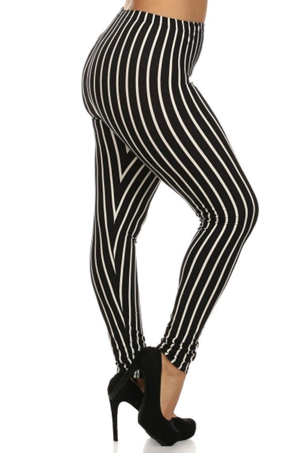 Pinstripe Design Leggings Plus Size leggings- Niobe Clothing