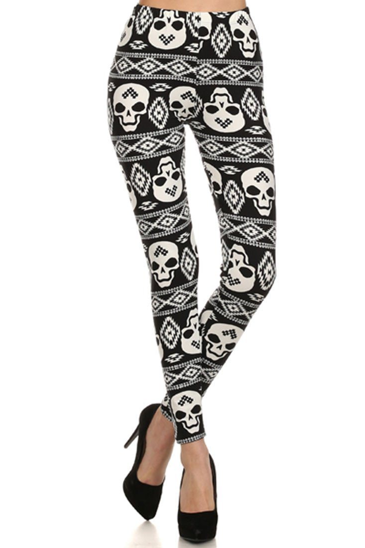 Black Skull Print Lined Leggings leggings- Niobe Clothing