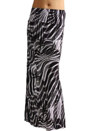 Animal Print Striped Full Length Banded Waist Foldover Maxi Skirt (Zebra) Skirts- Niobe Clothing