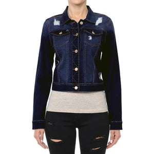 Classic Crop Vintage Distressed Denim Jacket Jackets- Niobe Clothing