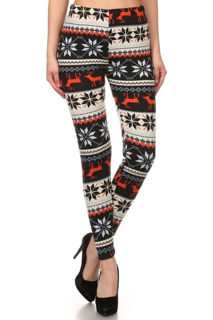 Red Reindeer Multicolor Graphic Print Lined Leggings - Niobe Clothing - 1