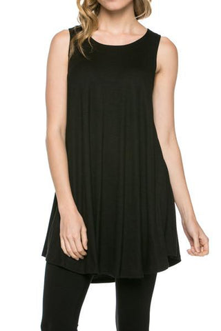 Sleeveless A-line Tank Tunic (Black) - Niobe Clothing - 1