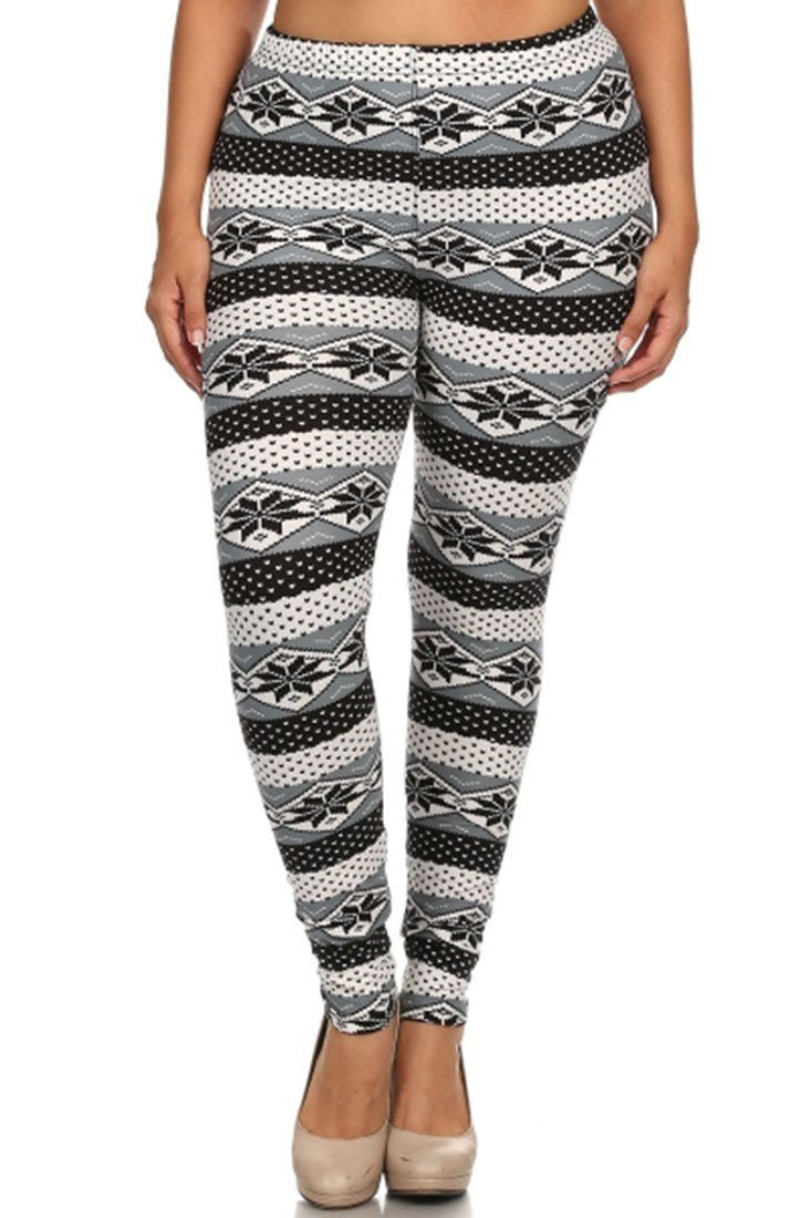 Snow Snowflake Design Plus Size Leggings leggings- Niobe Clothing