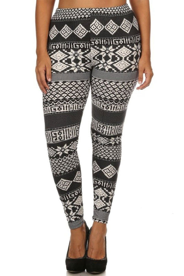 Black White Mistletoe Design Plus Size Leggings leggings- Niobe Clothing