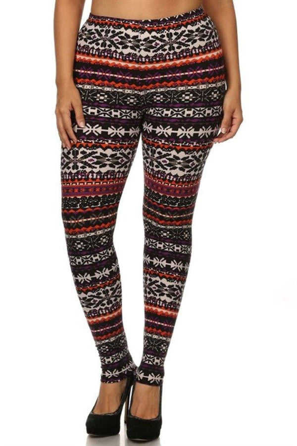 Sunrise Multi Design Plus Size Leggings leggings- Niobe Clothing