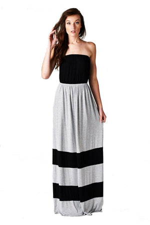 Strapless Colorblock Black Grey Tube Top Maxi Dress-dress-Niobe Clothing