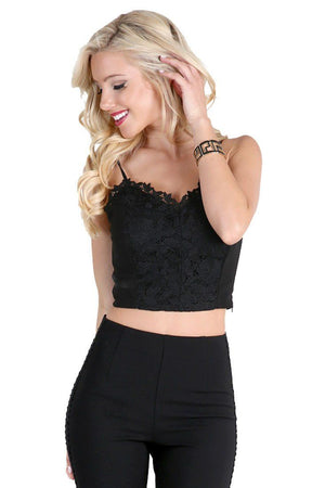 Lace Ponte Crop Top in Black