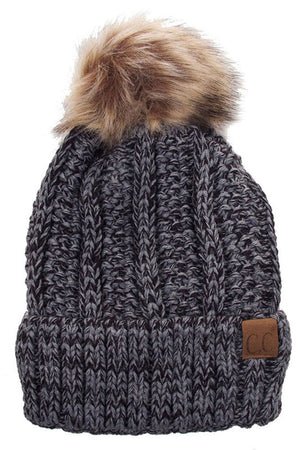 Fuzzy Faux Fur Pom Fleece Lined Beanie Hats- Niobe Clothing